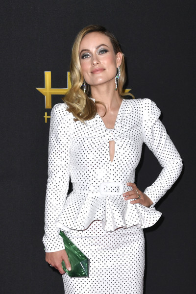Olivia Wilde Hard Case Clutch [white,clothing,suit,outerwear,fashion,fashion model,formal wear,blazer,sleeve,design,the beverly hilton hotel,beverly hills,california,annual hollywood film awards - arrivals,olivia wilde]