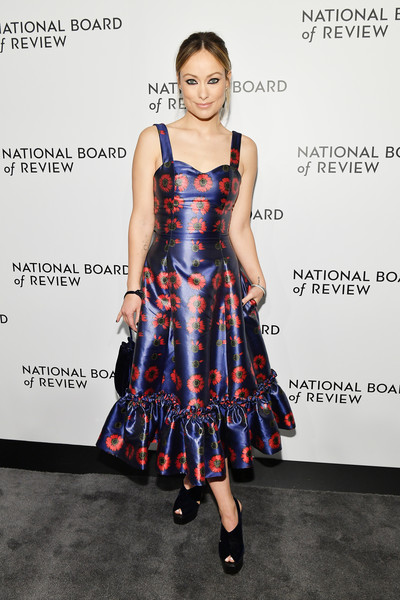 Olivia Wilde Print Dress [clothing,dress,fashion model,cocktail dress,fashion,hairstyle,fashion show,footwear,premiere,fashion design,arrivals,olivia wilde,new york city,cipriani 42nd street,the national board of review annual awards gala,national board of review annual awards gala]