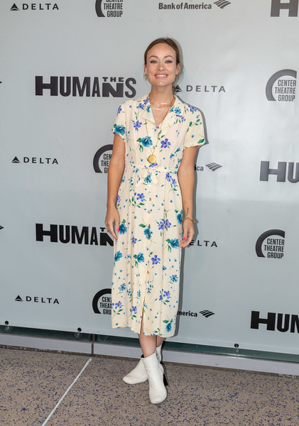Olivia Wilde Shirtdress [arrivals,humans,olivia wilde,clothing,dress,shoulder,fashion,hairstyle,footwear,fashion design,joint,cocktail dress,street fashion,the humans,california,los angeles,ahmanson theatre]