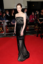 Gina looked supremely elegant at the Olivier awards in a black strapless chiffon gown with a woven bust.