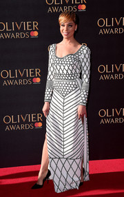 Cush Jumbo was modern in a geometric-embroidered, double-slit gown by Burberry at the 2017 Olivier Awards.