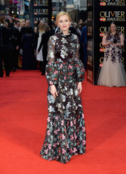 Laura Carmichael sported mixed florals at the Olivier Awards.