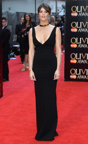 Gemma Arterton flaunted her to-die-for figure in a low-cut, body-con black evening dress by Dsquared2 at the Olivier Awards.