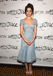 Cristin Milioti wore a pair of beige peep toe heels with T-straps while attending the opening night of 'Once' on Broadway.