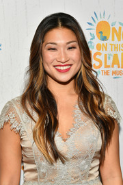 Jenna Ushkowitz wore her hair in fairytale waves at the Broadway opening of 'Once on This Island.'