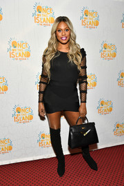 Laverne Cox rocked a super-short LBD with sheer sleeves at the 'Once on This Island' Broadway opening.