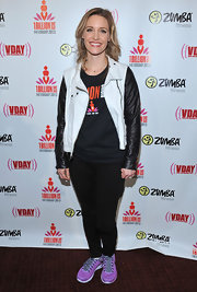 KaDee Strickland added some color to her casual look at the One Billion Rising event with purple running sneakers.