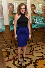 Elisabeth Moss worked her curves in a tight-fitting blue and black halter dress by David Koma during the NYC screening of 'The One I Love.'
