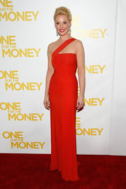 Katherine Heigl was a bright beauty in an orange chiffon gown at the 'One for the Money' premiere.