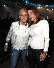 Bethenny Frankel teamed a ribbed white sweater with black leather pants for the 'One Voice: Somos Live!' concert.