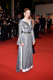 Lea Seydoux was medieval-chic in a silver Louis Vuitton sequin gown with bell sleeves at the Cannes screening of 'It's Only the End of the World.'