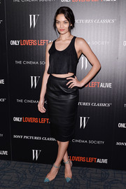 Shanina Shaik turned up the heat in this leather skirt with matching crop top.