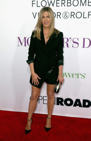 Jennifer Aniston looked oh-so-cool in an asymmetrical wrap romper by Anthony Vaccarello at the premiere of 'Mother's Day.'