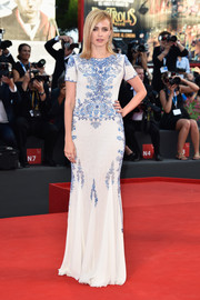 Nathalie Rapti Gomez was conservative yet classy in a beaded gown by Emilio Pucci during the Venice Film Festival opening ceremony.