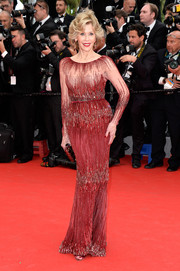 Jane Fonda donned a gorgeous beaded red gown by Elie Saab Couture for the 'Grace of Monaco' premiere.