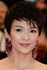 Zhang chose a soft pink lip to bring out the pink jewels she used to accessorize her look.