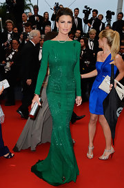Claudia Galanti's emerald green gown featured beaded detailing for a lovely and classy touch on the red carpet.
