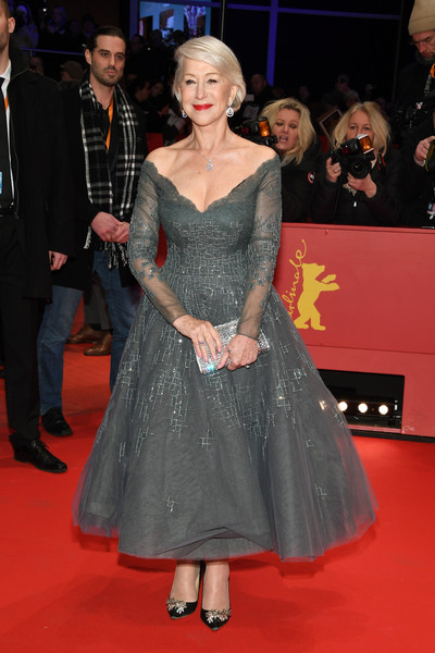 Helen Mirren made a breathtaking choice with this embellished gray off-the-shoulder dress by Rami Al Ali for the Berlinale opening ceremony.