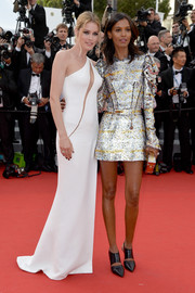 Liya Kebede opted for a leggy look with this metallic Louis Vuitton mini dress at the Cannes Film Festival opening ceremony.