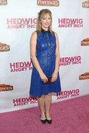 Judy Greer wore a cobalt leather dress with a contrast collar to the opening night of 'Hedwig and the Angry Inch.'
