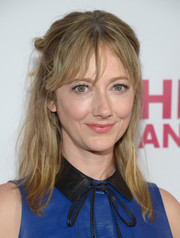 Judy Greer topped off her look with a messy half-up 'do when she attended the opening of 'Hedwig and the Angry Inch.'