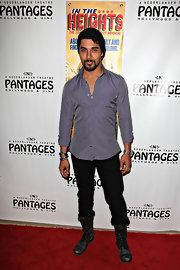 Wilmer Valderrama arrived at the opening night of 'In The Heights' wearing a silky dotted button-down shirt.