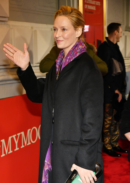 More Pics of Uma Thurman Wool Coat (1 of 3) - Outerwear Lookbook - StyleBistro [fashion,carpet,outerwear,premiere,event,flooring,red carpet,blazer,jacket,suit,to kill a mocking bird,broadway,new york city,shubert theatre,uma thurman]