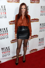 Jessica Sutta attended the opening night of 'Mike Tyson: Undisputed Truth' wearing a short leather skirt and a silk top.