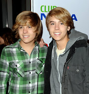 """Dylan Sprouse sported a green plaid button-down shirt to opening night of """"The Pee-wee Herman Show."""""""