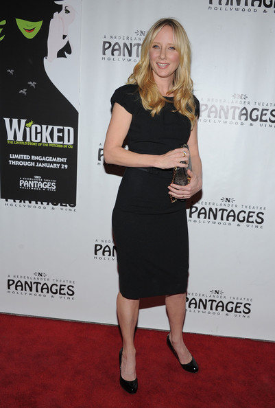 Anne Heche wore a little black dress to the 'Wicked' showing at the Pantages theater.