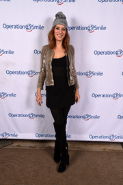 Kate Walsh glammed up her casual attire with a gold sequin jacket for the Celebrity Ski & Smile Challenge.