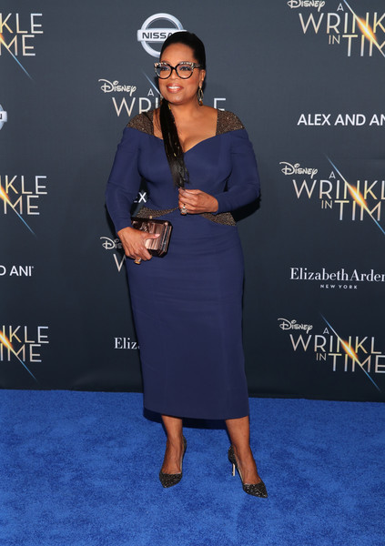 Oprah Winfrey Evening Pumps [a wrinkle in time,blue,flooring,electric blue,fashion,carpet,little black dress,dress,red carpet,formal wear,fashion design,arrivals,oprah winfrey,california,los angeles,el capitan theatre,disney,premiere,premiere]