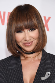 Jackie Cruz showed off a super-neat bob with eye-grazing bangs at the New York premiere of 'Orange is the New Black.'