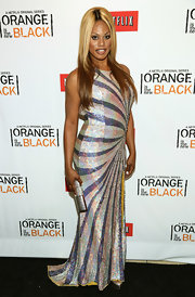 Laverne Cox opted for some glam sparkle with this sleeveless, swirl-print sequined dress.