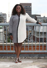 Danielle Brooks glammed up her casual dress with a pair of silver gladiator heels.