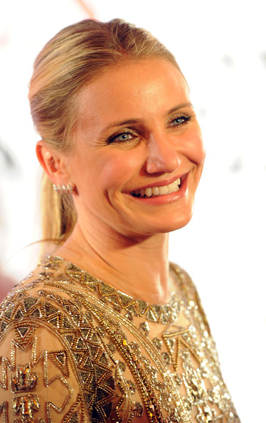 Cameron Diaz kept it simple with this center-parted ponytail when she attended the German premiere of 'The Other Woman.'