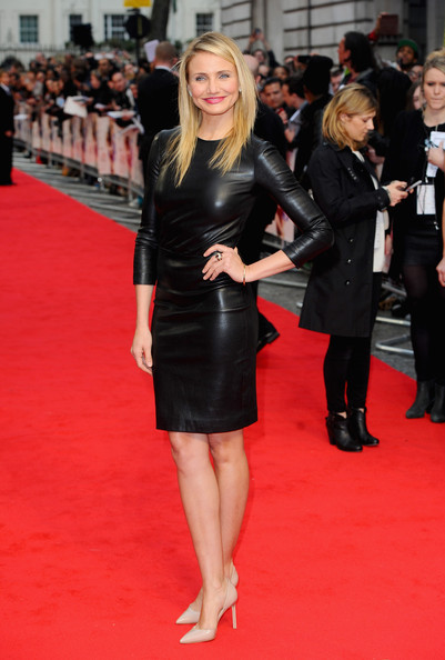 Cameron Diaz kept her look understated yet sophisticated in a leather LBD by The Row during the London premiere of 'The Other Woman.'