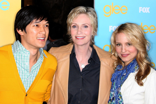 More Pics of Jane Lynch Layered Razor Cut (1 of 8) - Jane Lynch Lookbook - StyleBistro [glee fountain show,yellow,event,youth,fashion,fun,premiere,actors,harry shum jr.,jane lynch,dianna agron,l-r,the grove,fox,outdoor screening of foxs ``glee spring premiere,screening]
