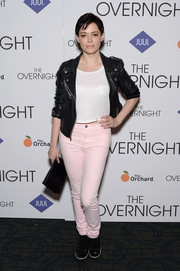 Rose McGowan was casual and edgy in a black leather biker jacket layered over a crop-top at the New York premiere of 'The Overnight.'