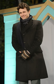 James Franco kept both stylish and warm in a charcoal wool coat at the 'Oz: the Great and Powerful' Japan premiere.