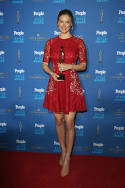 Bar Refaeli attended the People Style Awards looking sweet in a red lace skater dress.