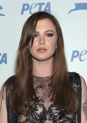 Ireland Baldwin sported a long straight 'do with just a bit of undercurl when she attended PETA's 35th anniversary party.