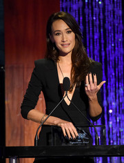 Maggie Q sported black nail polish to match her LBD during PETA's 35th anniversary party.