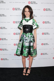 Alison Loehnis looked vibrant and modern in a tricolor print dress during the Peter Pilotto for Target launch.
