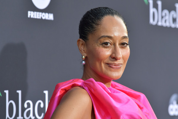 More Pics of Tracee Ellis Ross Crop Top (4 of 13) - Tops Lookbook - StyleBistro [pink,hairstyle,chin,forehead,lip,smile,arrivals,tracee ellis ross,california,los angeles,popsugar x,abc,goya studios,embrace your ish,event]