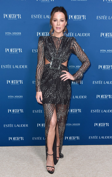 Kate Beckinsale went for modern glamour in an embellished black cutout gown at the 2018 Incredible Women Gala.