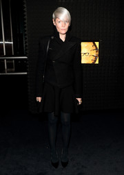 Kate Lanphear donned an edgy-chic black moto jacket for the Prada Journal event.