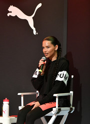 Adriana Lima went sporty in a black-and-white hoodie at the launch of the new Puma LQD CELL Shatter Shoe.