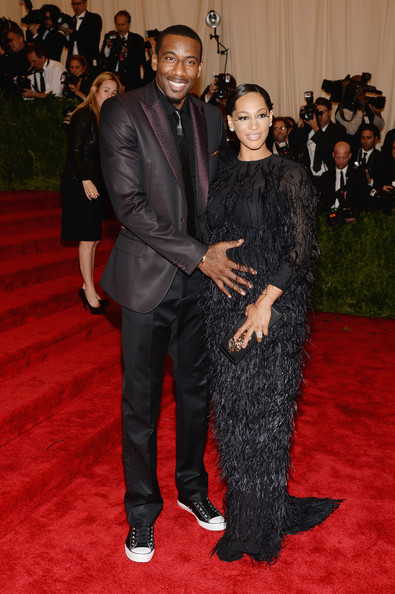 Amare and Alexis Stoudemire in Black and Feathers