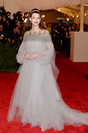 Linda Evangelista chose this gray gown with crystal detailing at the neck for her look at the Met Gala.